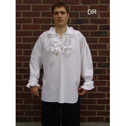 Chemise à jabot coton noire